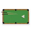 pool table cue and billiard balls for game vector image vector image