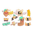 rock and roll music cartoon elements set funny vector image