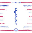 rod of asclepius snake coiled up silhouette vector image vector image