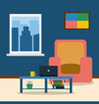 room interior with armchairpicture laptop and vector image vector image