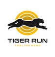 run tiger animal logo design vector image vector image