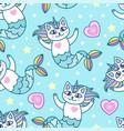 seamless pattern mermaid cartoon cats vector image vector image