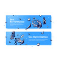 seo performance and optimization isometric banner vector image vector image