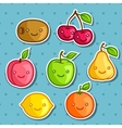 Set of cute kawaii smiling fruits stickers