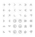 set simple thin arrow icons vector image vector image