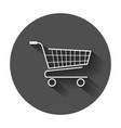 shopping cart icon flat on black round background vector image vector image