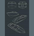 speed boat blueprints vector image vector image