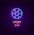 sport bar neon label vector image vector image