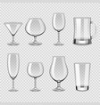 transparent drink glasses icons photo realistic vector image vector image