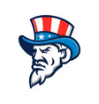 uncle sam wearing usa top hat mascot vector image vector image