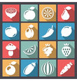 vegetables icons in flat design vector image