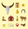 wild western cowboy icons rodeo equipment vector image vector image
