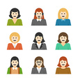 Woman Characters Faces Avatars User Profile vector image vector image