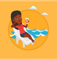 woman relaxing on beach chair vector image vector image