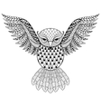 Zentangle Owl for adult anti stress vector image