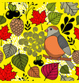 black and with bird on the branch and autumn vector image vector image