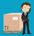business man and cardboard box vector image