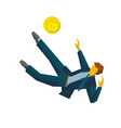 businessman kicking gold bitcoin in jump vector image vector image