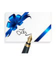 card with blue gift bow and signing with a vector image vector image
