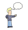 cartoon curious man pointing with thought bubble vector image