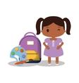 cartoon girl wink bag paint palette vector image