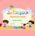 certificate template for art award with kids