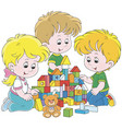 children playing with bricks vector image vector image