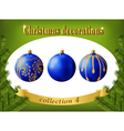 christmas decorations collection blue balls vector image vector image