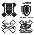 color vintage hacker protection emblem vector image
