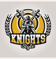 colorful logo emblem a knight on a background of vector image