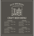 craft beer menu with brewery building vector image vector image