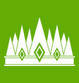 crown icon green vector image vector image