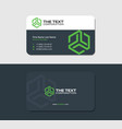 dark business card template with green hexagon vector image vector image
