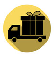 delivery gift sign flat black icon with vector image vector image