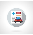 Driver insurance flat round icon vector image