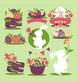 easter eggs and bunny rabbit holding spring vector image