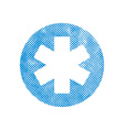 Emergency ambulance symbol with pixel print vector image
