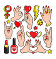 fashion patch badges with gestures of hands vector image vector image