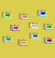 flat icons set of progress statistics concept in vector image vector image
