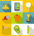 golf club icon set flat style vector image vector image