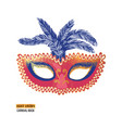 hand drawn venetian carnival mask with feathers vector image vector image