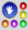hand icon sign Round symbol on bright colourful vector image