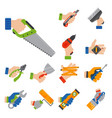 hands with construction tools worker equipment vector image