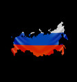 hanging russia flag in form map russian vector image vector image