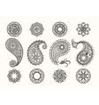 henna tattoo paisley icons set vector image vector image