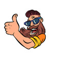 hipster man bearded thumb up vector image vector image