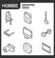 hobbie outline isometric icons set vector image vector image