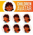 indian girl avatar set kid primary school vector image vector image