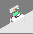 isometric designer workplace concept vector image