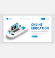 landing e-learning concept white vector image vector image